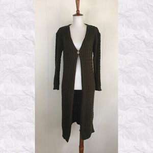 Vintage 90's Cable Knit 1 Button Midi Cardigan